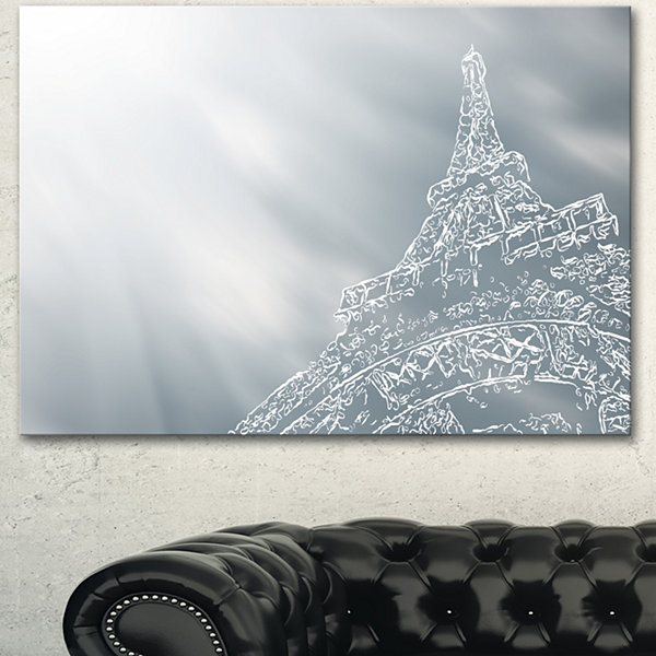 Designart Paris Eiffel Towerart Background ExtraLarge Canvas Art Print