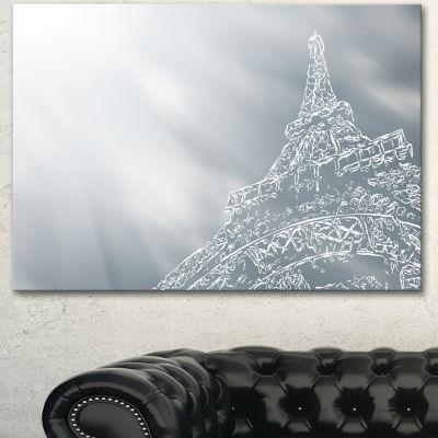 Designart Paris Eiffel Towerart Background Extra Large Canvas Art Print - 3 Panels