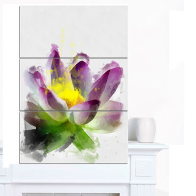 Designart Lotus Flower Sketch Watercolor Floral Canvas Art Print - 3 Panels