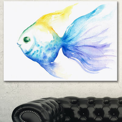 Designart Lovely Blue Fish Watercolor Abstract Canvas Art Print