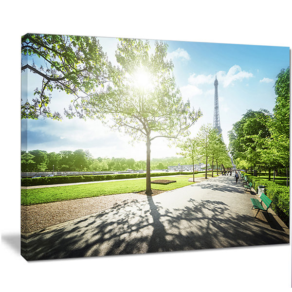 Designart Paris Eiffel Towerat Sunny Morning Landscape Canvas Art Print