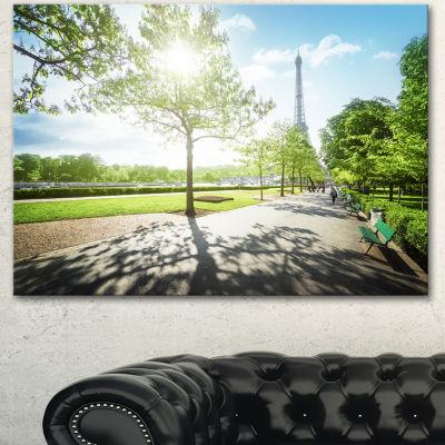 Designart Paris Eiffel Towerat Sunny Morning Landscape Canvas Art Print - 3 Panels