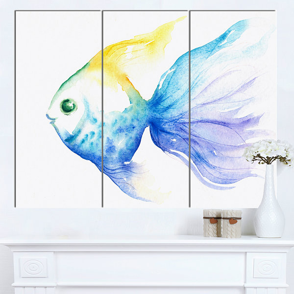 Designart Lovely Blue Fish Watercolor Abstract Canvas Art Print - 3 Panels