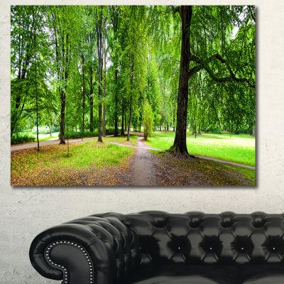 Designart Park In Autumn Panorama Landscape CanvasArt Print