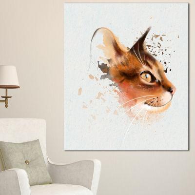 Designart Lovely Brown Cat Watercolor Sketch LargeAnimal Canvas Artwork - 3 Panels