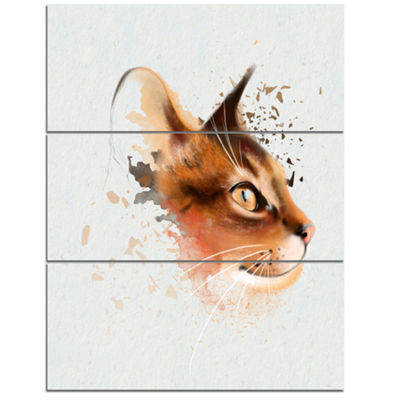 Designart Lovely Brown Cat Watercolor Sketch LargeAnimal Canvas Artwork - 3 Panels