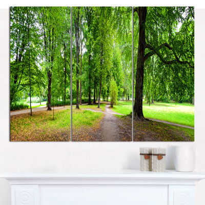 Designart Park In Autumn Panorama Landscape CanvasArt Print - 3 Panels