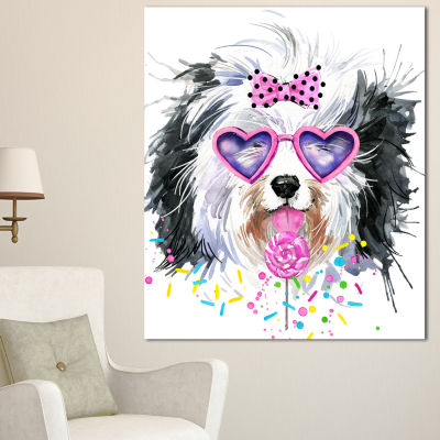 Design Art Lovely Dog With Pink Heart Glasses Contemporary Animal Art Canvas - 3 Panels