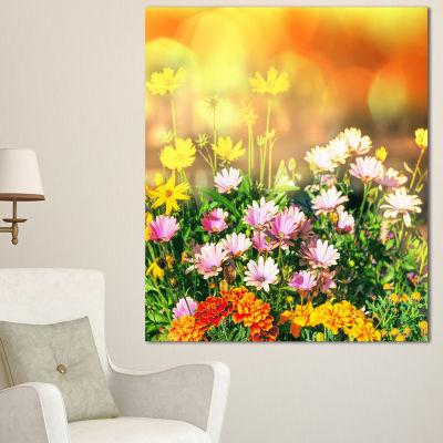 Designart Lovely Multi Color Little Flowers FloralCanvas Art Print - 3 Panels