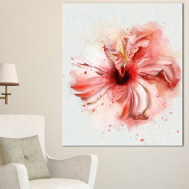 Designart Lovely Pink Watercolor Flower Flowers Canvas Wall Artwork
