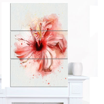Designart Lovely Pink Watercolor Flower Flowers Canvas Wall Artwork - 3 Panels