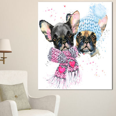 Designart Lovely Puppies With Neck Shawls Contemporary Animal Art Canvas - 3 Panels