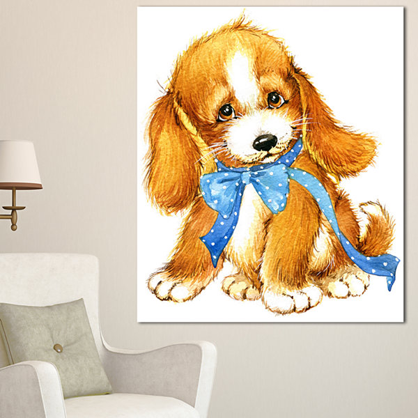 Designart Lovely Puppy Dog Watercolor ContemporaryAnimal Art Canvas