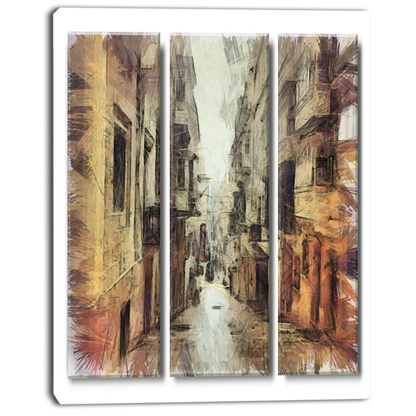 Design Art Path In Street Watercolor Stretch LargeCityscape Canvas Art Print