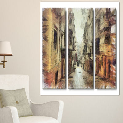 Designart Path In Street Watercolor Stretch LargeCityscape Canvas Art Print - 3 Panels
