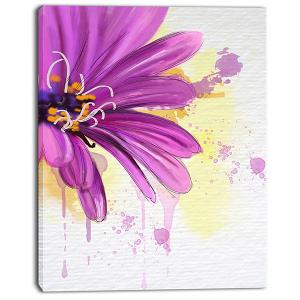 Designart Lovely Purple Flower Watercolor FloralCanvas Art Print