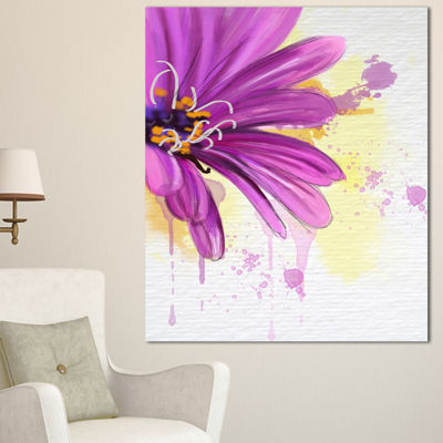 Designart Lovely Purple Flower Watercolor FloralCanvas Art Print - 3 Panels