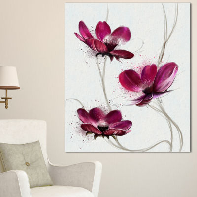 Designart Lovely Red Watercolor Poppies Flowers Canvas Wall Artwork