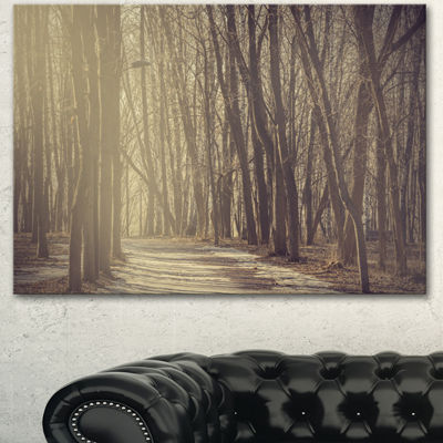 Designart Path In The Foggy Fall Forest Modern Forest Canvas Art