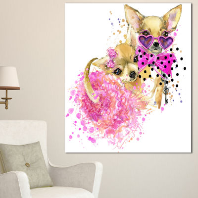 Designart Lovely Sweet Dog Watercolor Abstract Canvas Art Print