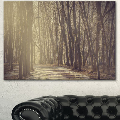 Designart Path In The Foggy Fall Forest Modern Forest Canvas Art - 3 Panels
