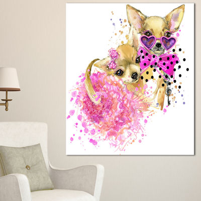 Designart Lovely Sweet Dog Watercolor Abstract Canvas Art Print - 3 Panels