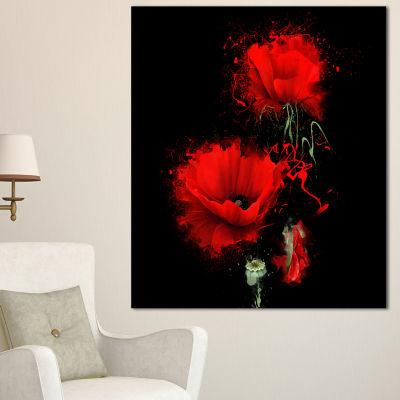 Designart Luxurious Red Poppy Flower On Black Floral Canvas Art Print