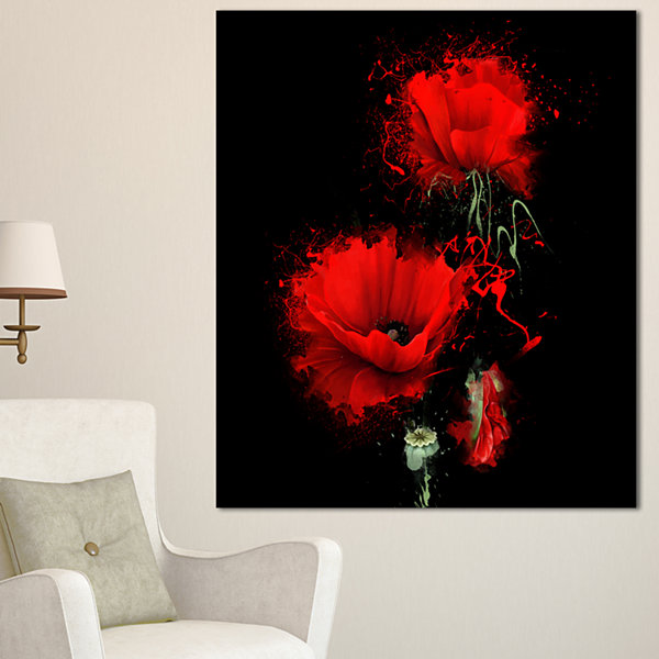 Designart Luxurious Red Poppy Flower On Black Floral Canvas Art Print - 3 Panels