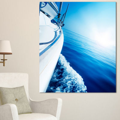Designart Luxury Yacht Sailing In Blue Sea Large Seashore Canvas Wall Art