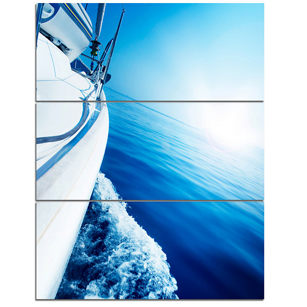 Designart Luxury Yacht Sailing In Blue Sea LargeSeashore Canvas Wall Art - 3 Panels