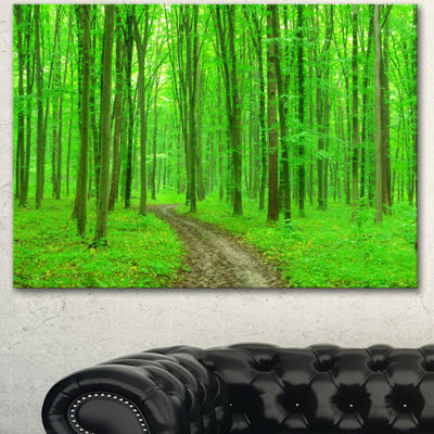 Designart Pathway In Bright Green Forest Modern Forest Canvas Art - 3 Panels