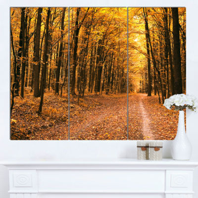 Designart Pathway In Yellow Autumn Forest ForestCanvas Art Print - 3 Panels