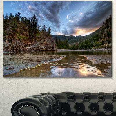 Designart Peaceful Evening At Mountain Creek Landscape Canvas Art Print - 3 Panels