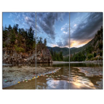 Design Art Peaceful Evening At Mountain Creek Landscape Canvas Art Print - 3 Panels