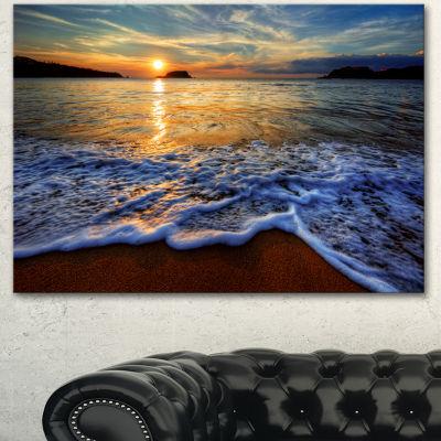 Designart Peaceful Sandy Beach With Waves Extra Large Canvas Art Print - 3 Panels