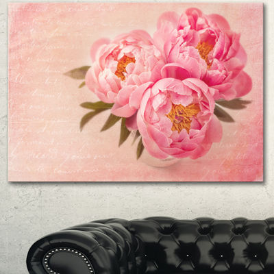 Designart Peony Flowers Against Scribbled Back Floral Canvas Art Print