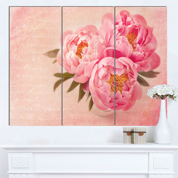 Designart Peony Flowers Against Scribbled Back Floral Canvas Art Print - 3 Panels