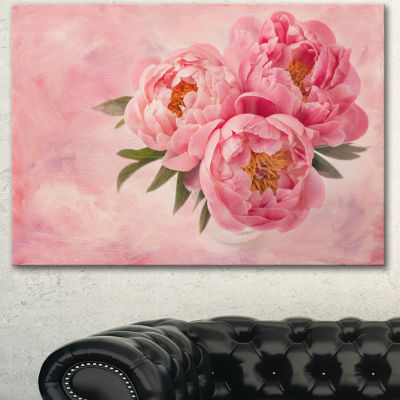 Designart Peony Flowers In Vase On Pink Floral Canvas Art Print