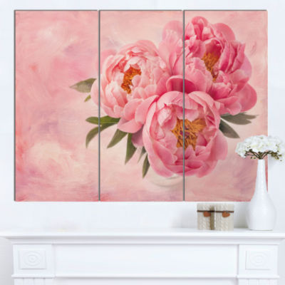 Designart Peony Flowers In Vase On Pink Floral Canvas Art Print - 3 Panels