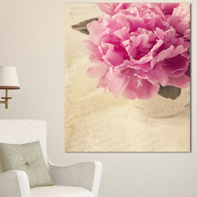 Design Art Peony Flowers In Vase On Table Floral Canvas Art Print - 3 Panels
