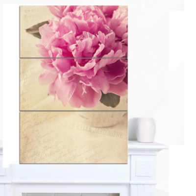 Designart Peony Flowers In Vase On Table Floral Canvas Art Print - 3 Panels