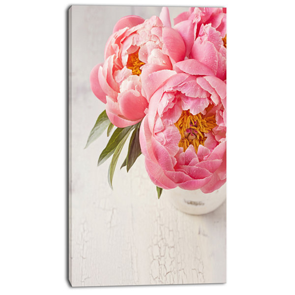 Designart Peony Flowers In Vase Photography FloralCanvas Art Print