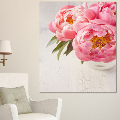 Designart Peony Flowers In Vase Photography FloralCanvas Art Print - 3 Panels