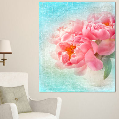 Designart Peony Flowers Merged To Blue Floral Canvas Art Print - 3 Panels
