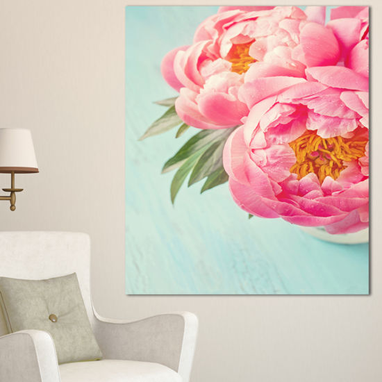 Designart Peony Flowers On Blue Background FloralCanvas Art Print