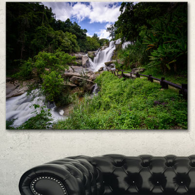 Designart Mae Klang Waterfall Thailand Large Landscape Canvas Art - 3 Panels