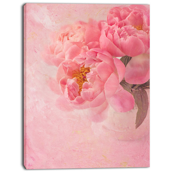 Designart Peony Flowers On Pink Background FloralCanvas Art Print