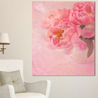 Designart Peony Flowers On Pink Background FloralCanvas Art Print - 3 Panels