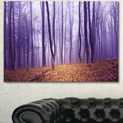 Designart Magenta Foggy Fairytale Forest Forest Canvas Art Print - 3 Panels