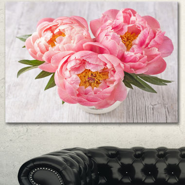 Designart Peony Flowers On White Floor Floral Canvas Art Print